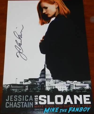 Miss Sloane signed autograph jessica chastain poster psa