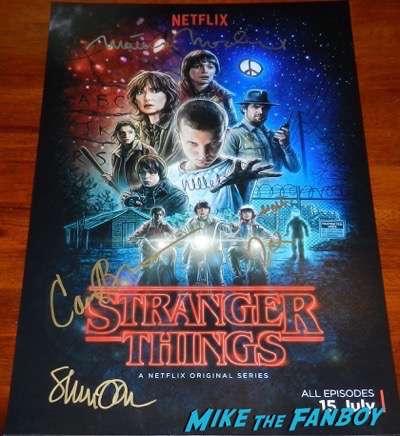Stranger things cast signed poster psa