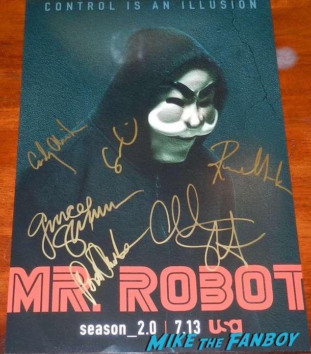 Mr robot signed autograph season 2 poster rami malek portia doubleday