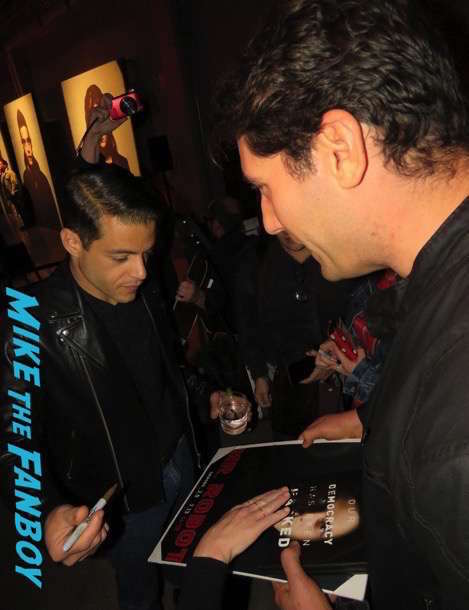 Rami Malek meeting fans signing autographs Mr. Robot q and a