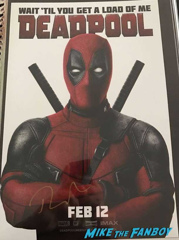 Deadpool signed autograph ryan reynolds poster psa