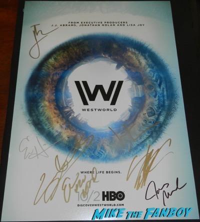 westworld cast signed autograph poster psa evan rachel wood ed harris
