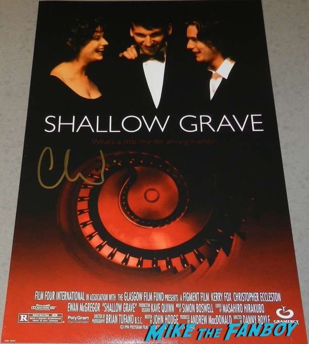 christopher eccleston signed autograph shallow grave poster psa