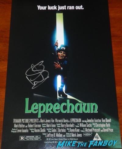 warwick davis signed autograph leprechaun poster psa