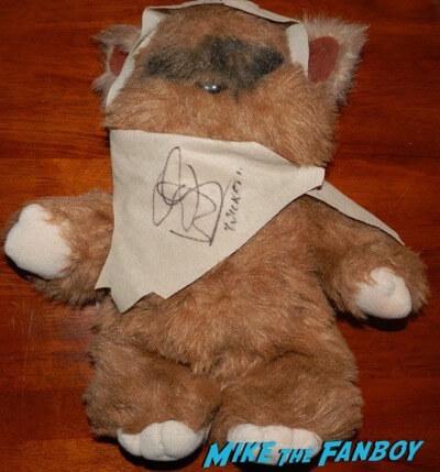 warwick davis signed autograph wicket stuffed animal 1980s ewok