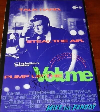 Christian Slater signed autograph pump up the volume poster