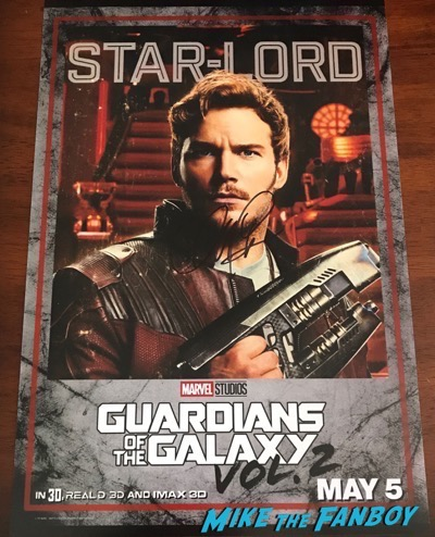 Chris Pratt signed autograph guardians of the Galaxy vol 2 poster psa