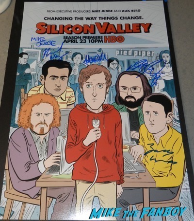 silicon valley season four cast signed autograph poster