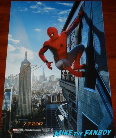 tom holland signed autograph spider man poster psa