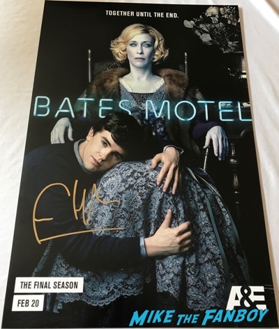 Bates Motel final season poster signed by freddie highmore vera farmiga autograph psa