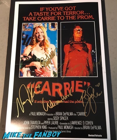 Carrie cast signed autograph poster sissy spacek psa