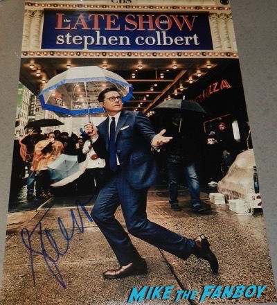 Late show with Stephen Colbert signed autograph poster PSA