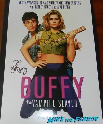 luke perry kristy swanson signed autograph buffy the vampire slayer poster psa