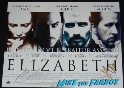 cate blanchett joseph fiennes signed Elizabeth poster PSA