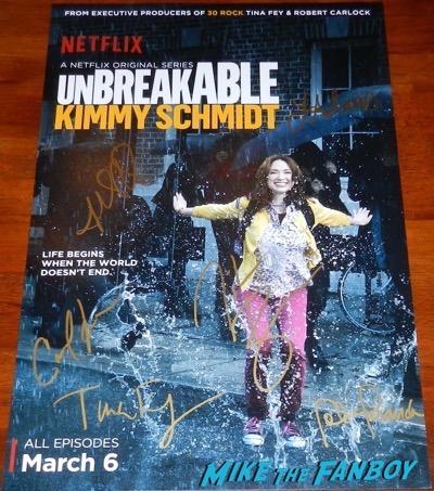 Unbreakable Kimmy Schmidt season 1 cast signed autograph poster ellie kemper titus burgess
