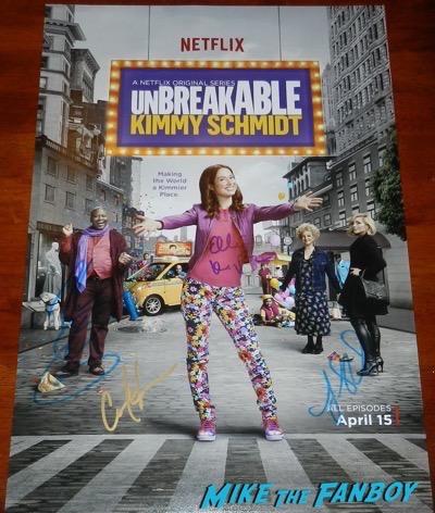 Unbreakable Kimmy Schmidt season 2 cast signed autograph poster ellie kemper titus burgess