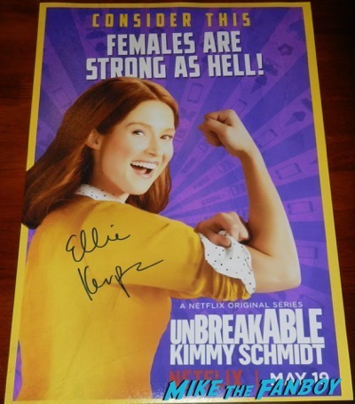 ellie kemper signed autograph Unbreakable Kimmy Schmidt season 3 poster
