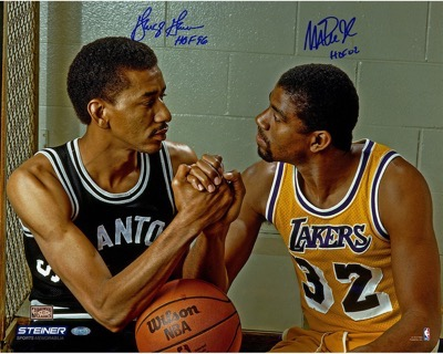 George Gervin and Magic Johnson signed autograph poster