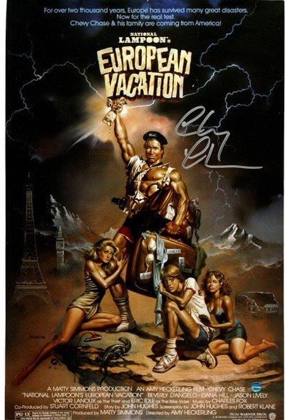 chevy chase signed european vacation poster
