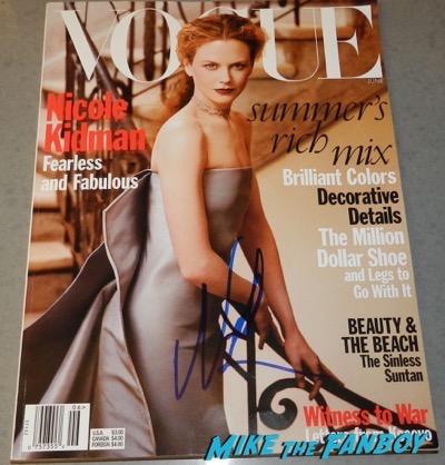 Nicole Kidman signed autograph vogue magazine cover psa rare
