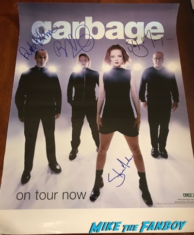 Garbage signed autograph tour poster shirley manson butch vig psa