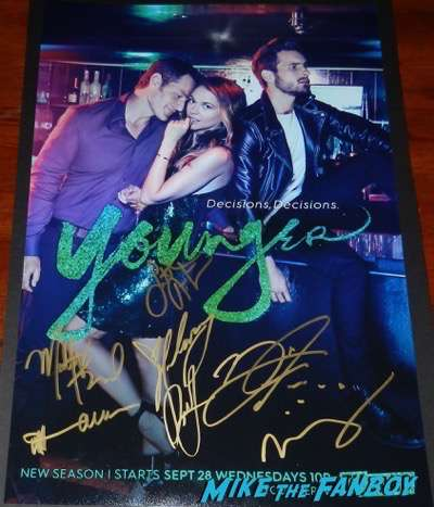 Younger season three signed autograph poster sutton foster hilary duff psa