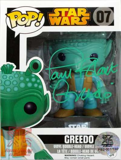 Greedo Pop! Star Wars Vinyl Figure Autographed By Paul Blake - Limited Edition of 150