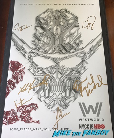 Westworld cast signed autograph poster Luke Hemsworth PSA
