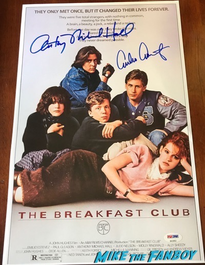 Anthony Michael Hall signed Breakfast Club Poster