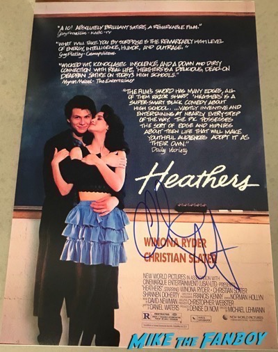 Christian Slater signed autograph heathers poster psa