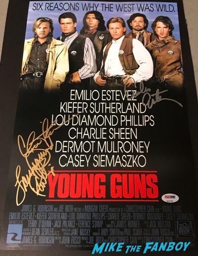 lou diamond phillips signed autograph young guns poster psa