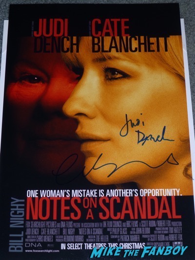 Judi Dench cate blanchett signed notes on a scandal poster