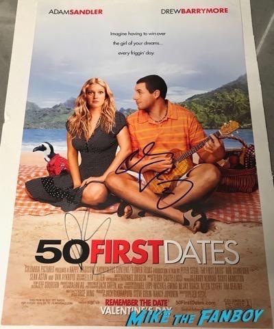 Adam Sandler Drew Barrymore Signed Autograph 50 First Dates poster PSA
