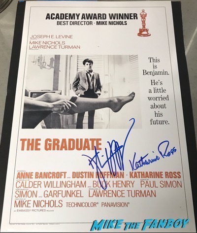 dustin hoffman Katherine Ross signed autograph The Graduate poster psa