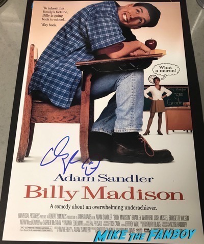 Adam Sandler Signed Autograph Billy Madison poster PSA