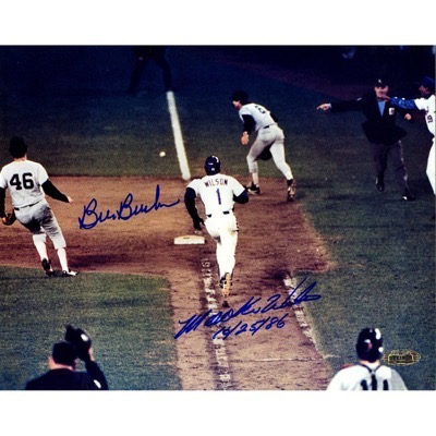 Mookie Wilson and Bill Buckner signed photo autograph