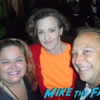 Joan Cusack meeting fans signing autographs selfie