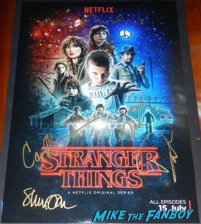 Stranger Things cast signed autograph poster millie bobby brown