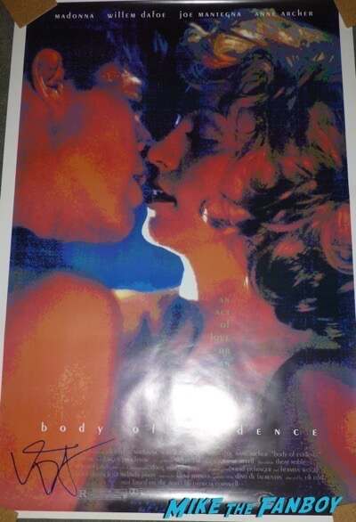 Willem Dafoe signed autograph body of evidence poster