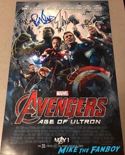 elizabeth olsen Jeremy renner signed autograph avengers poster psa