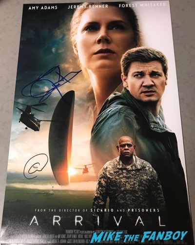 Jeremy Renner amy adams signed autograph arrival posterJeremy Renner amy adams signed autograph arrival poster