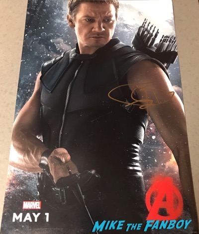Jeremy Renner signed Hawkeye character poster psa