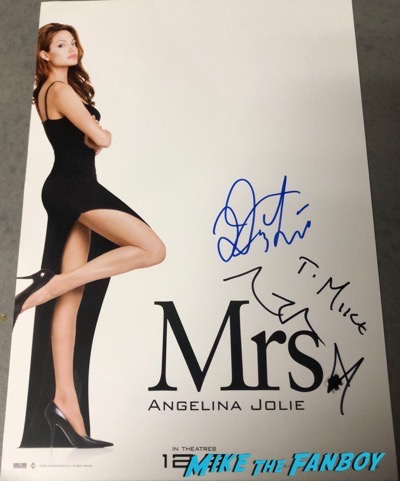 Angelina Jolie signed autograph Mrs smith poster