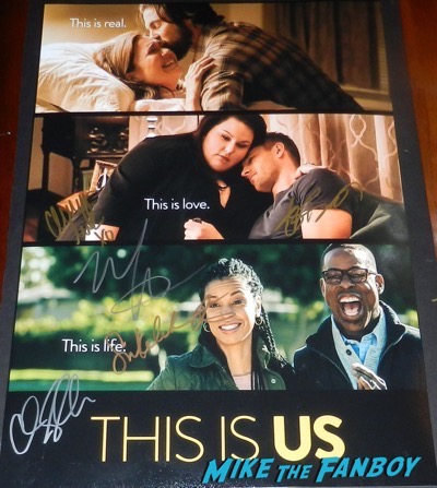 This is us signed autograph poster justin Hartley mandy moore psa