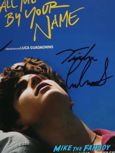 Timothée Chalamet signing autographs call me by your name psa