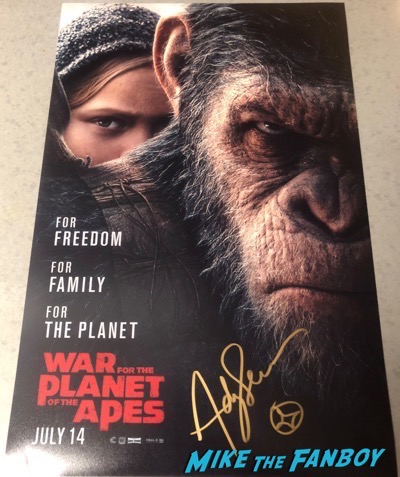 Andy Serkis signed autograph war for the planet of the apes poster psa