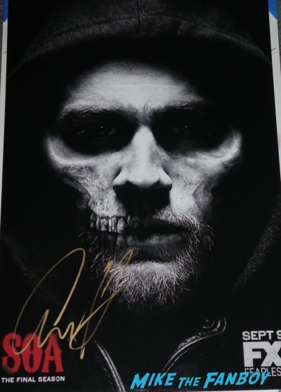 Charlie hunnam signed autograph sons of anarchy final season poster
