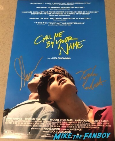 Call Me By Your Name signed autograph poster Armie Hammer Timothée Chalamet PSA