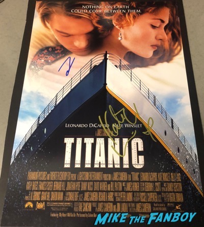 Titanic poster signed by Kate Winslet and Leonardo DiCaprio psa rare promo Titanic poster signed by Kate Winslet and Leonardo DiCaprio psa rare promo