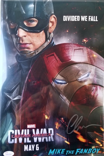 Chris Evans signed autograph Captain American poster psa ACE Comic con